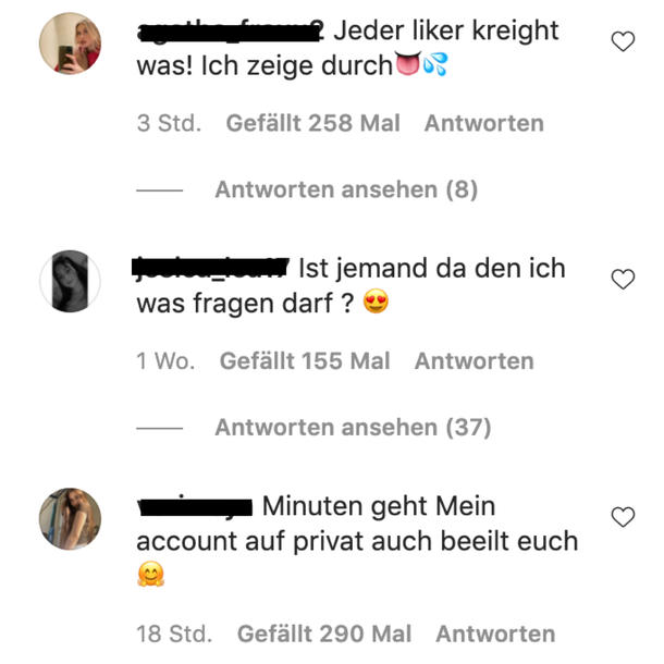 Sex-Spam-Bots auf Instagram: Kommentare