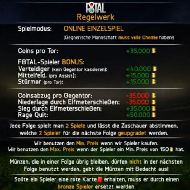 Das Regelwerk der F8tal World Tour.